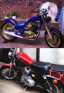 上がヒロ桜井さん、下が平川準さん所有のバイク